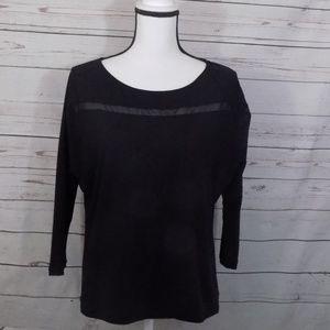 LUCY mesh sheer cutouts 3/4 sleeve medium top